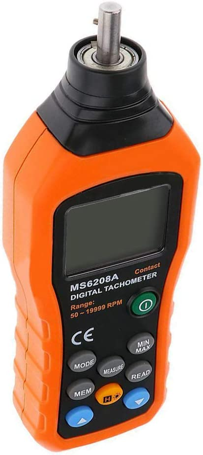 Portable MS6208A Contact LCD Digital Tachometer Speedometer 50~19999RPM Meter 30