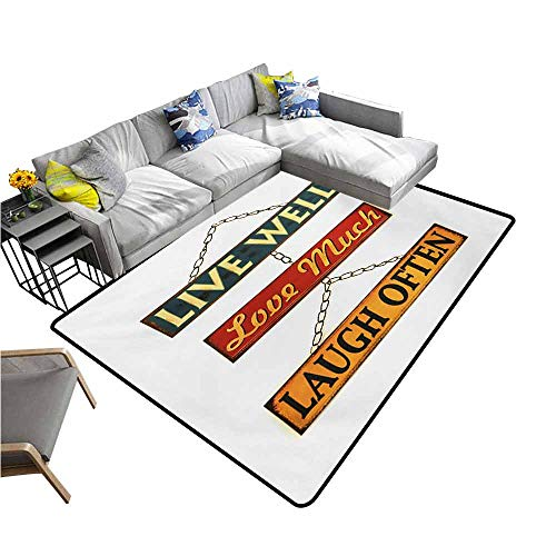 (Thin Non-Slip Kitchen Bathroom Carpet Colorful Live Laugh Love,Live Well Love Much Laugh Often Words Rusty Signs Tied with Chains Print,Multicolor 60