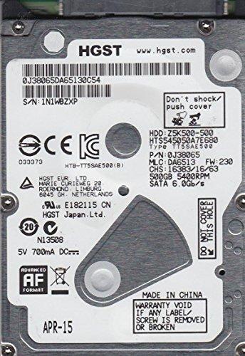 HTS545050A7E680, PN 0J38065, MLC DA6513, Hitachi 500GB SATA 2.5 Hard Drive