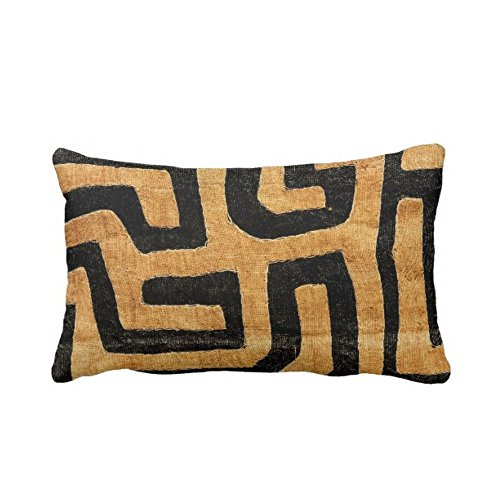 Kuba Cloth Printed Throw Pillow Case Cover Tan Black 14 x 20 Lumbar OUTDOOR or INDOOR Pillow Case Covers Covers African TribalTraditionalGeo Design