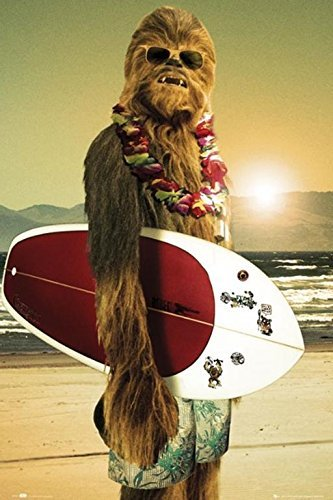 Star Wars Chewbacca with Surfboard 36x24 Movie Art Print Poster