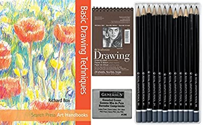 Artists Basic Drawing Pack Bundle - Sketch Pad, Drawing Pencils Pack, Kneaded Eraser, Drawing Made Easy Book Graphite To Go Art Supplies Kit