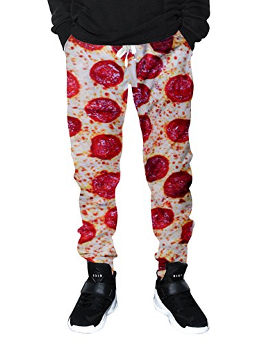 RAISEVERN Unisex Funny Food Pizza Printed Graphic Travelsuit Pants Toursers