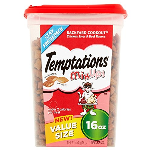TEMPTATIONS MixUps Cat Treats (Chicken, Liver, Beef, 16 oz. -Pack of 3) by Temptations