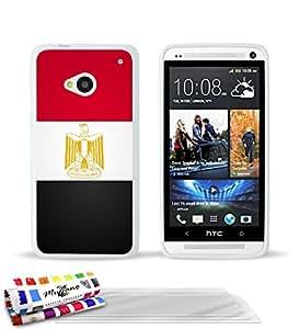 Carcasa Flexible Ultra-Slim HTC ONE de exclusivo motivo [Bandera Egipto] [Blanca] de MUZZANO + 3 Pelliculas de Pantalla UltraClear + ESTILETE y PAÑO MUZZANO® REGALADOS - La Protección Antigolpes ULTIMA, ELEGANTE Y DURADERA para su HTC ONE