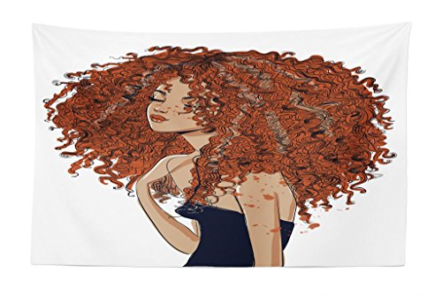 Exotic Tapestry - Lunarable Curly Hair Tapestry, Exotic Cute Curly Girl with Freckles Hipster Woman Modern Red Hair Casual Style, Fabric Wall Hanging Decor for Bedroom Living Room Dorm, 45 W X 30 L inches, Multicolor