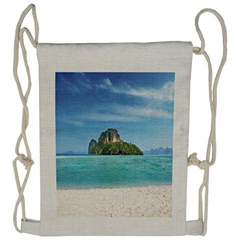 Lunarable Island Drawstring Backpack, Coastline in South East Asia, Sackpack Bag