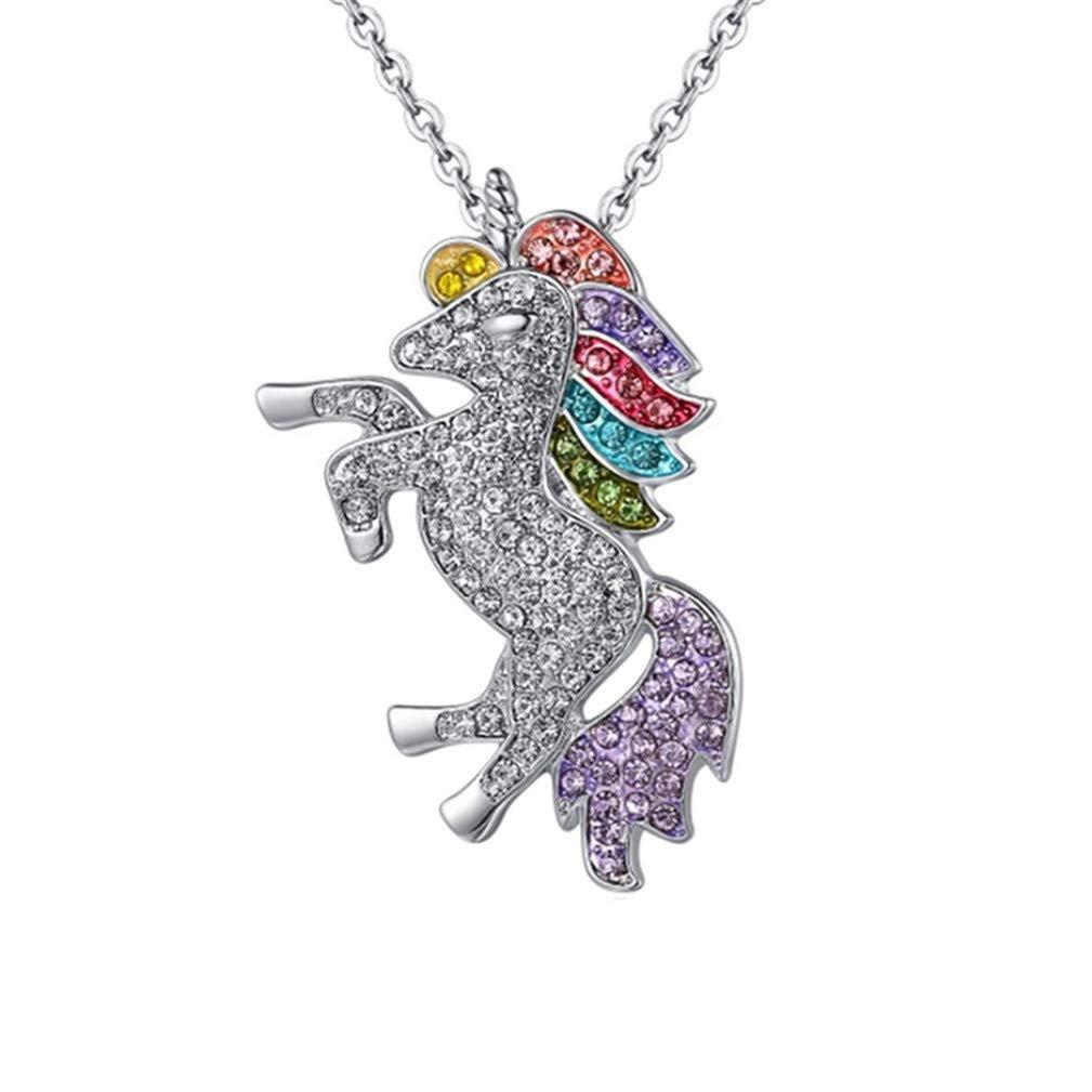 Rhinestone Unicorn Necklace ON...