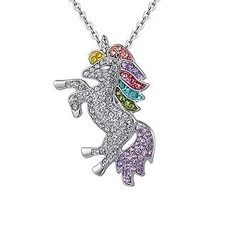 Myhouse Women Girls Beautiful Rhinestone Unicorn Necklace Sweater Chain Pendant Alloy Gifts Charms Findings