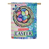 Evergreen Happy Easter Outdoor Safe Double-Sided Suede House Flag, 29 x 43 inches