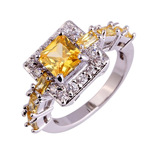 Emsione 925 Sterling Silver Plated Created Citrine Halo Womens Ring