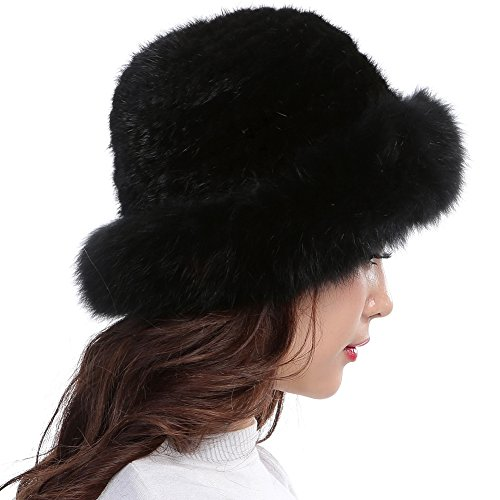 Valpeak Womens Winter Hat Knitted Mink Fox Brim Real Fur Hats (Black)
