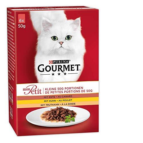 PURINA GOURMET Mon Petit Katzenfutter nass, Geflügel-Variationen, 8er Pack (8 x 6 Beutel à 50g)