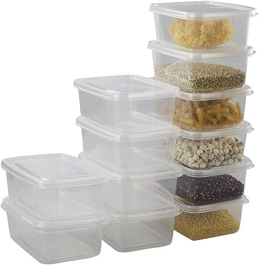 Ikando 1500ml / 25oz Cajas Recipiente para Alimentos Comida de Plástico Transparente con Tapa, 19,7cm x 13,9cm x 7,6cm, 12 Unidades: Amazon.es: Hogar