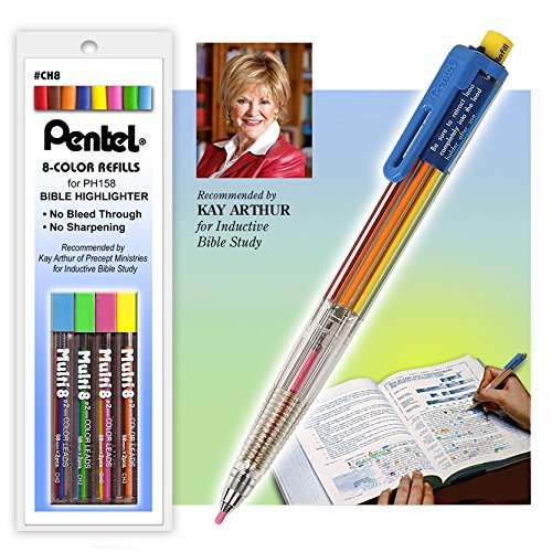 GT Luscombe All-in-One 8 Multi Color Highlighter Pen and Color Lead Refills Combo Set by G T Luscombe