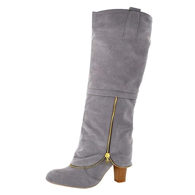 POLP Botines de Agua Mujer Botas Altas Mujer Rodilla Botas Altas Tacon Botas Altas de cuña Calzado de Invierno Mujer Zapatos con Tacon Botas Altas Mujer ...