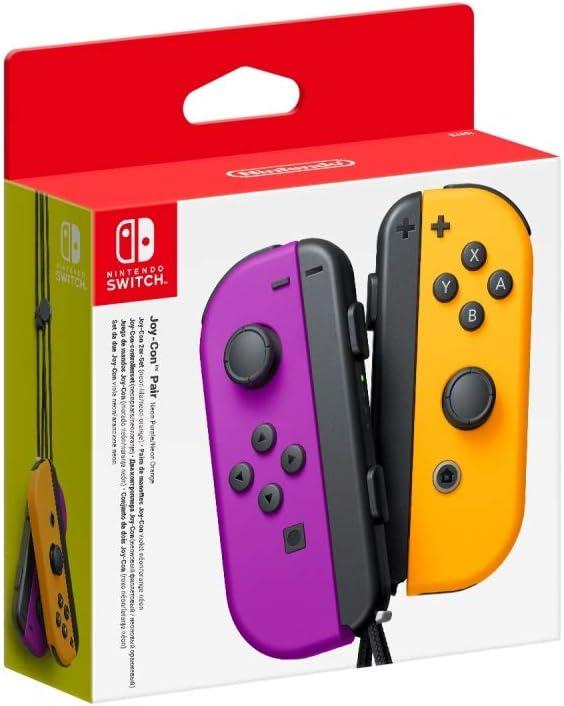 Nintendo Joy-Con (set Izda/Dcha) Morado Neón/Naranja Neón: Amazon ...