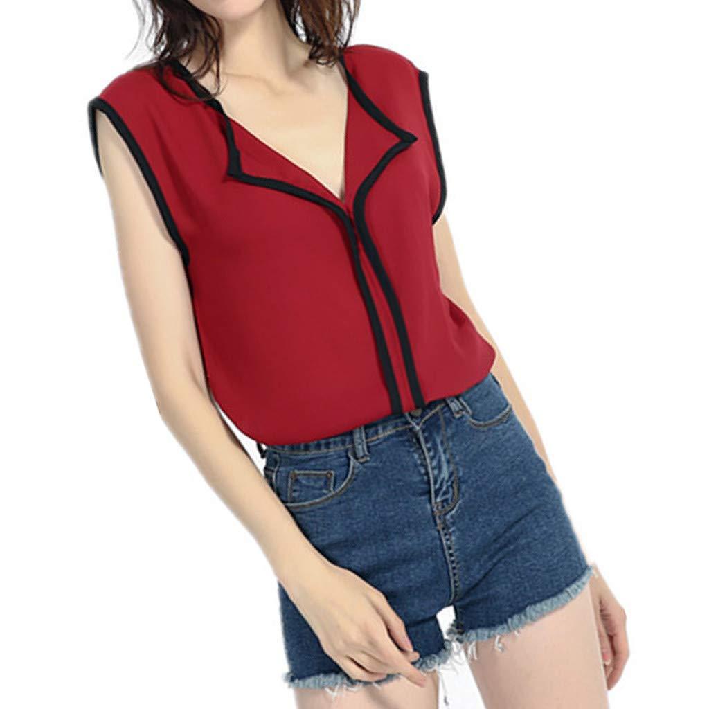 Camiseta Mujer Manga Corta Moda Sin Mangas Camisa Gasa del Dulce Fresco Fresco Ocasional Sin Mangas