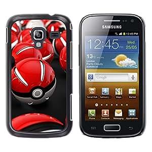 // PHONE CASE GIFT // Duro Estuche protector PC Cáscara Plástico Carcasa Funda Hard Protective Case for Samsung Galaxy Ace 2 / Red Poke Balls /