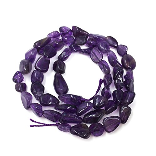 Top Quality Natural Amethyst Gemstone Center Drilled Oval Rice Stone Beads 16