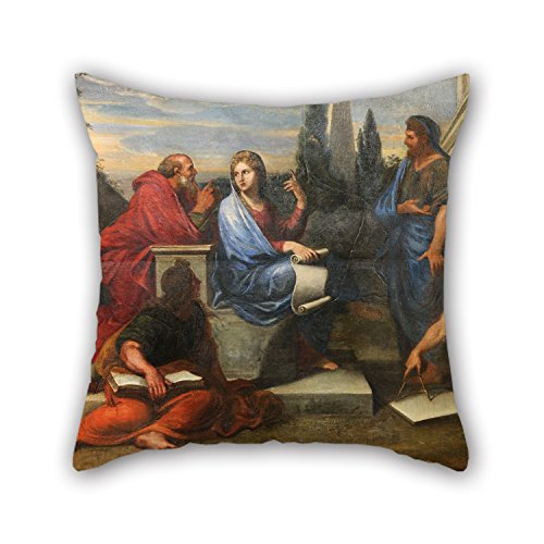 Artistdecor 20 X 20 Inches / 50 By 50 Cm Oil Painting Michel II Corneille - Aspasie Au Milieu Des Philosophes De La Grèce Pillow Covers ,double Sides Ornament And Gift To Kids,bf,couch,play (Ho Outfits)