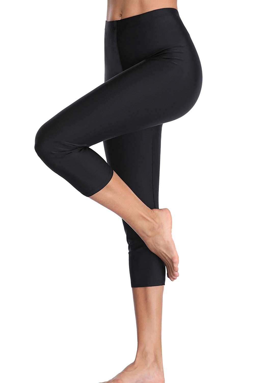 CharmLeaks Women Long Swimming Shorts Swim Capri Pants Black