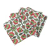 Roostery Antique Tile Christmas Green Red Holiday Mexico Linen Cotton Dinner Napkins The Lata Tile ~ Christmas in by Peacoquettedesigns Set of 4 Dinner Napkins