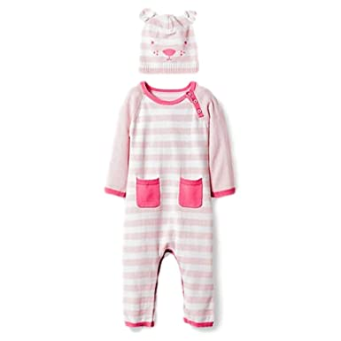 117d660b8 Amazon.com  Cat   Jack Baby Boys  Organic Sweater Romper and Hat Set ...