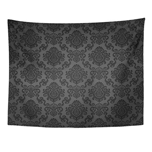 Tapestry Damask - Emvency Tapestry Victorian Damask Pattern Royal Black Gothic Dark Vintage Home Decor Wall Hanging for Living Room Bedroom Dorm 60x80 Inches