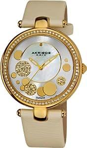 Akribos XXIV Women's AKR434WT Diamond Silver Sunray Diamond Dial Quartz Strap Watch