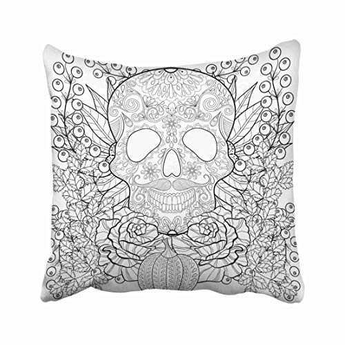 Emvency Zentangle Skull with Pumpkin Rose Sunflower for Halloween Freehand Sketch for Adult Coloring Page Throw Pillow Covers 20x20 Inch Decorative Cover Pillowcase Cases Case Two Side -