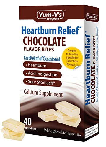 YUM-V's Complete Heartburn Relief, Antacid w/ Calcium Supplement (40 Ct), White Chocolate Flavor Chewable Bites for Men and Women; Low Sugar, Vegan, Kosher, Halal, Gluten -