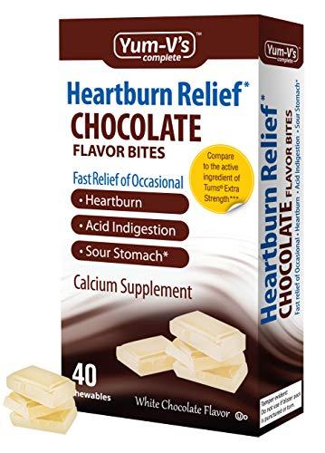 YUM-Vs Complete Heartburn Relief, Antacid w/ Calcium Supplement (40 Ct), White Chocolate Flavor Chewable Bites for Men and Women; Low Sugar, Vegan, Kosher, Halal, Gluten Free