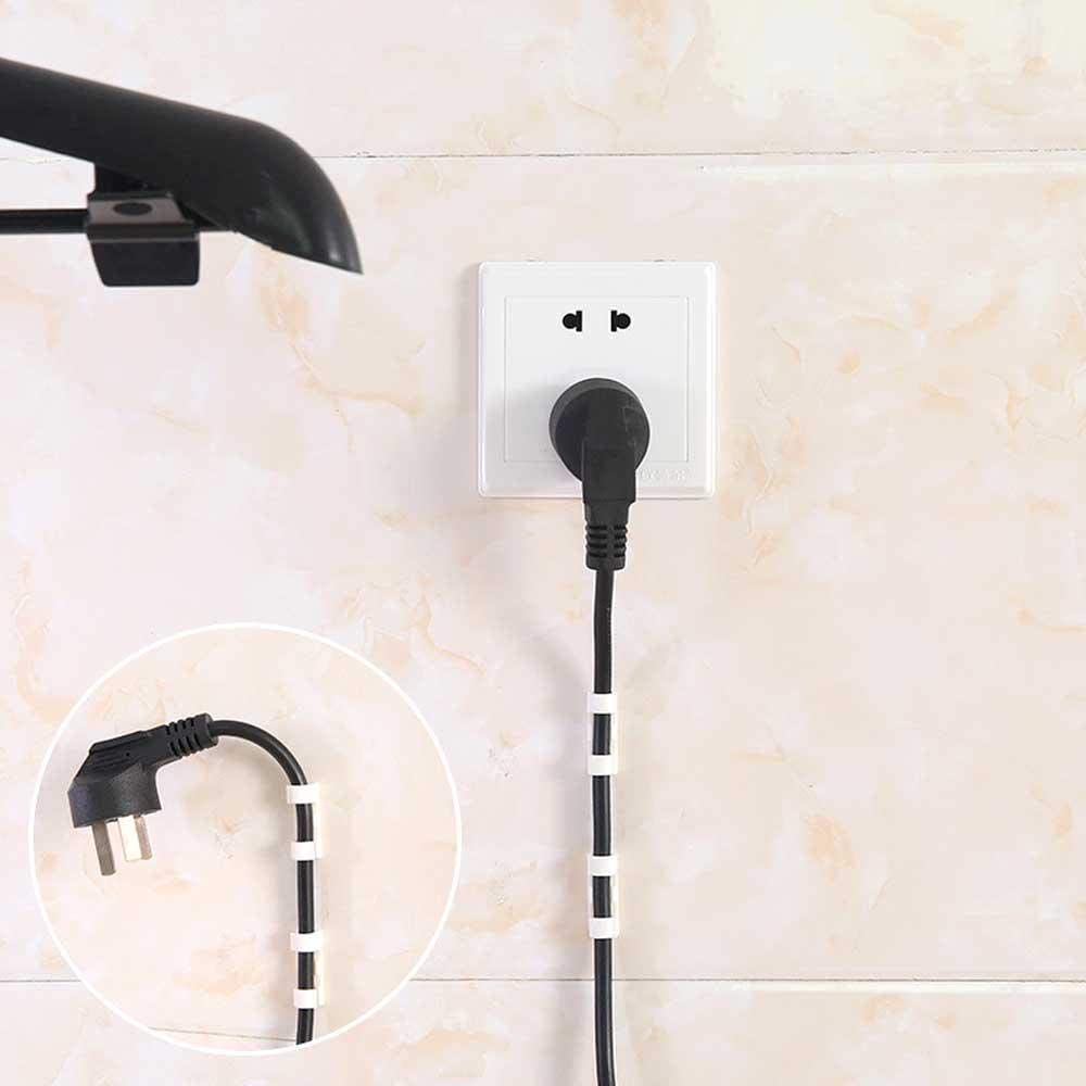 wjieyou Lot de 20 Clips de c/âble Auto-adh/ésif Solide pour Fixation Durable et Organiseur de Cordon en Plastique pour la Maison et Le Bureau