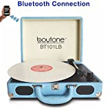 Boytone BT-101LB Bluetooth Turntable Briefcase Record Player AC-DC, Built in Rechargeable Battery, 2 Stereo Speakers 3-Speed, LCD Display, FM Radio, USB/SD,RCA, AUX / MP3, Encoding, 110/220 Volt.