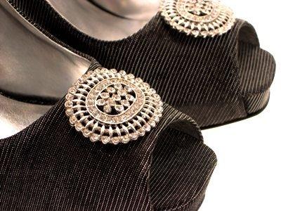 WOMENS SATIN GLITTER PEEP TOE PLATFORM HEELS BROACH SHOES LADIES 3-8 Black Glitter fCikfSj