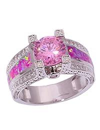 CiNily Silver Pink Opal Pink Topaz Zircon Women Jewelry Gemstone Ring Size 5-12