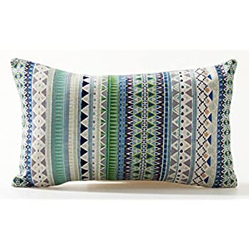 this item bohemian style colorful stripes cotton linen throw lumbar pillow case cushion cover home office decorative rectangle 12 x 20 inches - Decorative Lumbar Pillows