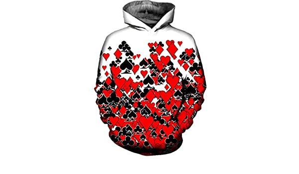 Amazon.com: RMXZ Mens Hoodies Sweathirts Poker Red Black Peach 3D Print Casual Hoodie Hooded: Clothing