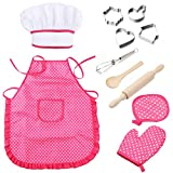 Mansalee Chef Set for Kids, Girls Apron Set, Easter Cookie Cutter Set, Cooking Play Set, 11 Pcs Great Gift, Chef Hat, and Other Accessories for Toddler Career Role Play Children Pretend Play (Pink)