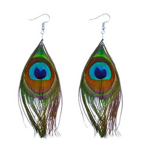 Mardi Gras Peacock (Pandahall Peacock Feather Earring Handmade Cocktail Earring Carnival Jewelry Women Dangle Halloween)