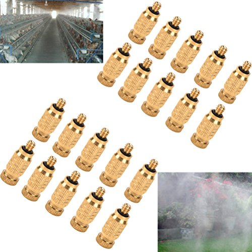 Fog Nozzle - 20 Pcs Brass Misting Nozzles High Pressure Atomizing Misting Sprayer Low Pressure Water Hose Nozzle for Greenhouse,Landscaping,Dust Control,Outdoor Cooling System,0.004