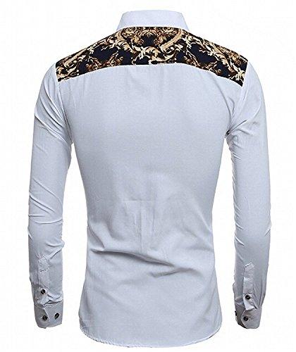 Bikinmoon Trendy Men's Tops Long Sleeve Slim Fit Splice Printed WhiteUS Large=China X-Large