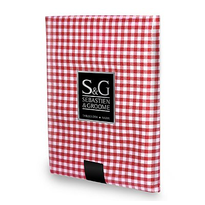 Sebastien & Groome TCY6055660 60 in. Mini-Gingham Check Tablecloth, Red and White - Mini Check Tablecloth