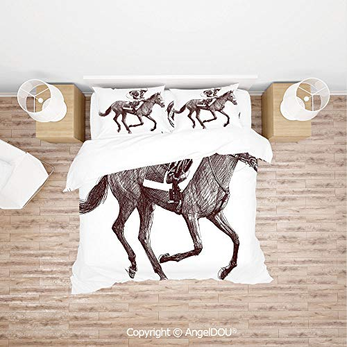 (PUTIEN Durable Cotton Bedding Set (1 Duvet Covers+2 Pillowcases 1 Sheet),Sketchy Illustration of Racing Horse and Equestrian Sports Theme Art Decorative,for Colorful Home Decor.)
