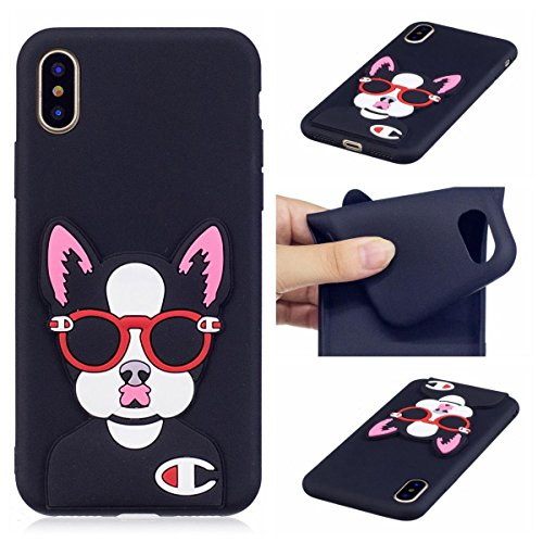 Funda iPhone X Silicona, Carcasas iPhone X Case Cover Dibujos Animados Flexible TPU Opaco Ultra Delgado Ultra Ligero Goma Caja Suave Gel Shock-Absorción,Anti-Arañazos y Anti-Choque Bumper Protectora F Perro en Gafas