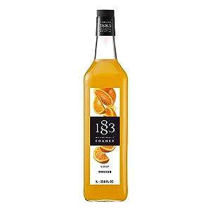 1883 Maison Routin - Orange Syrup - Made in France - Glass Bottle   1 Liter (33.8 oz)