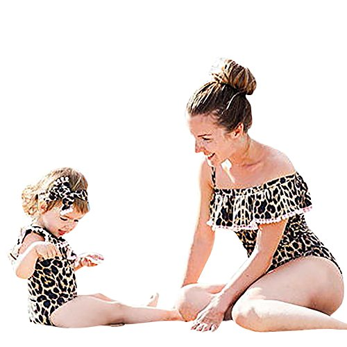 Price comparison product image Elevin(TM) Swimsuit Mom and Me,  Toddler Kids Infant Baby Girls Leopard Print One Piece Romper Swimwear Bathing Bikini Set Outfits For Girls 0-5 Years (Medium,  Mom Brown)