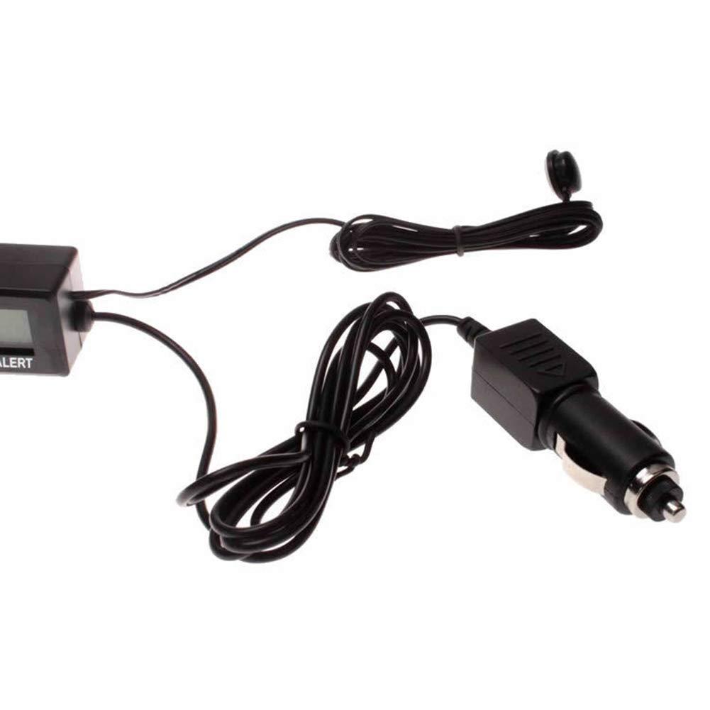 NAttnJf Thermom/ètre num/érique Multifonction de Voiture Batterie Horloge Moniteur de temp/érature Black
