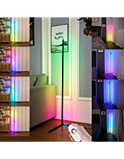 RGB Corner Floor Lamp, LED Floor Lamp Ambient Background Light, Modern Minimalism Color Changing LED Dimmable Torchiere, Black, 142cm, CA Plug, 20W Cool for Living Room, Bedroom and Play Room DIY